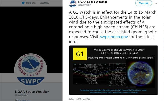 NOAA cảnh báo về cơn bão Mặt Trời trên Twitter.