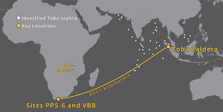 Nơi núi lửa phun trào (chấm màu vàng bên phải)