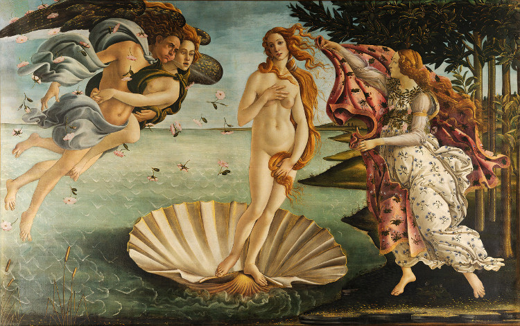 """Bức tranh nổi tiếng """"Sự ra đời của Thần Vệ nữ""""."""