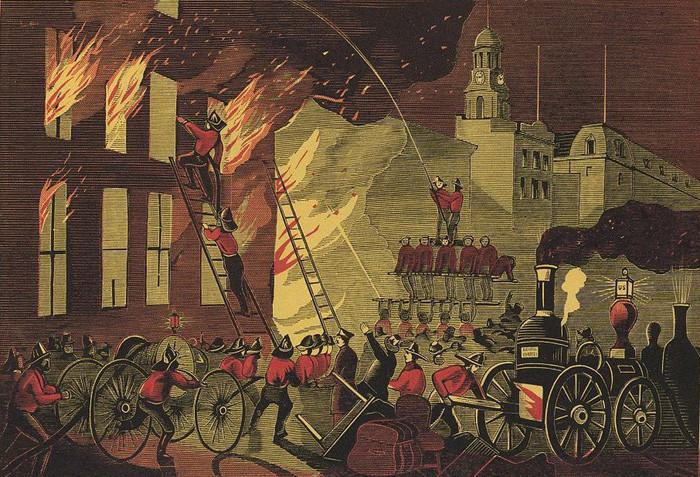 Tranh cổ mô tả trận hỏa hoạn ở thành phố New York năm 1869