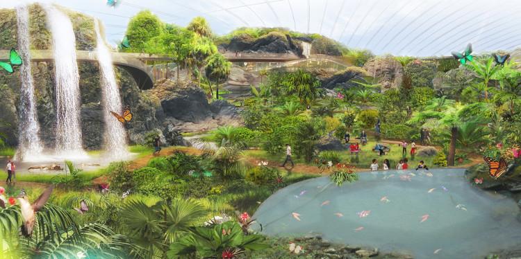Phối cảnh bên trong nhà kính khổng lồ Tropicalia.