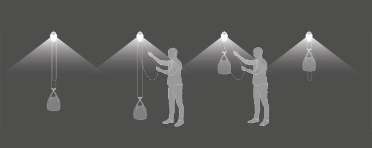 Đèn sẽ được treo lên độ cao khoảng 1,8m tính từ mặt đất.