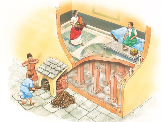 Hệ thống hypocaust của người La Mã cổ đại.