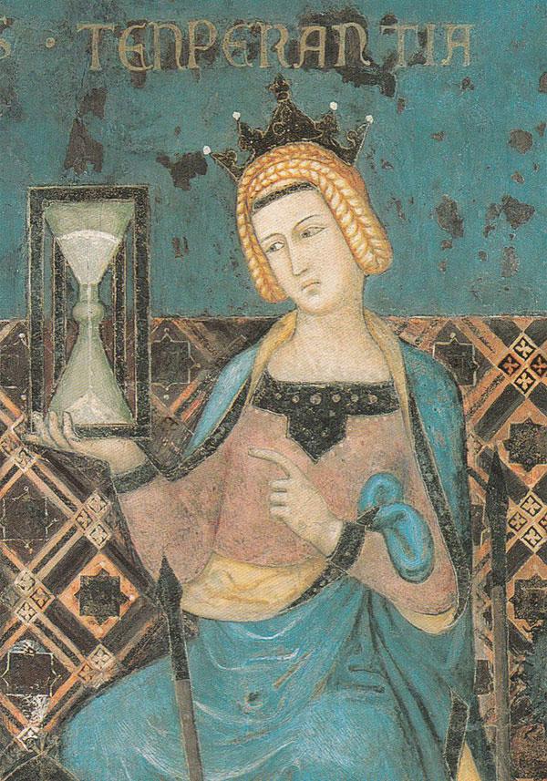 Bức tranh Biểu tượng của chính quyền hiệu quả của Ambrogio Lorenzetti năm 1338 có hình ảnh đồng hồ cát