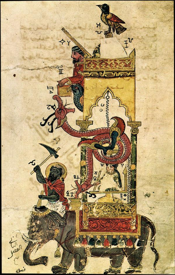 Bản vẽ mô phỏng hệ thống đồng hồ voi thời vua Al-Jazari