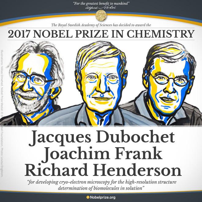 Giải Nobel Hóa học năm 2017 dành cho 3 nhà khoa học đóng góp vào công nghệ Cryo-EM.