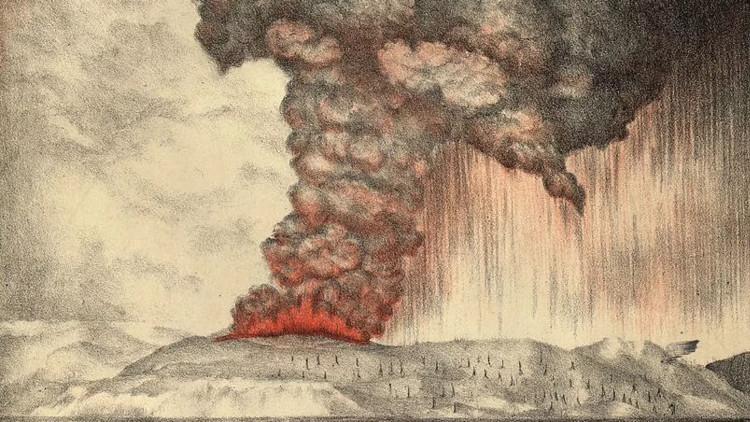 Vụ phun trào núi lửa Krakatoa năm 1883 gây ra những thiệt hại nặng nề.