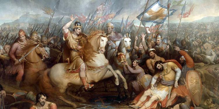 Bức tranh thời Victoria vẽ lại trận đánh Hastings, công tước William đã chiến thắng và kẻ bại trận dâng ngôi báu.
