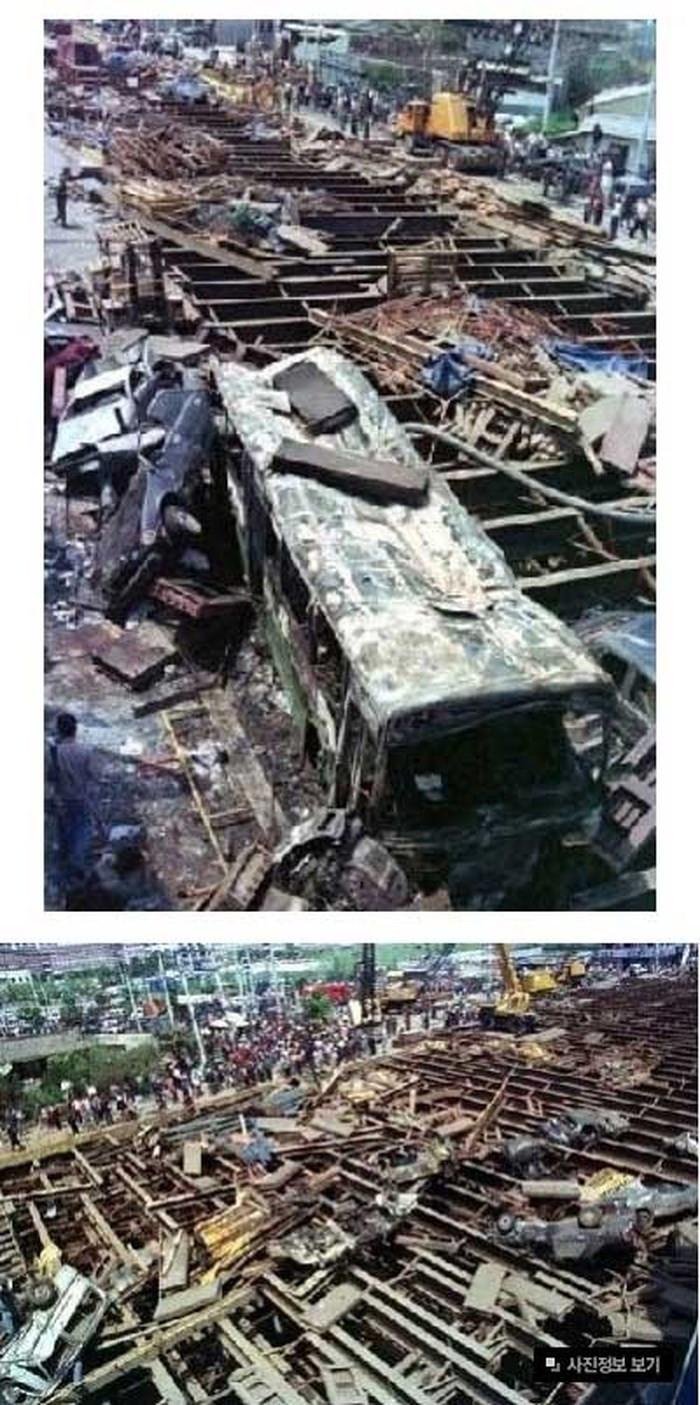 Nhiều nhà cửa ở gần giao lộ, nơi xảy ra vụ nổ, bị phá hủy.