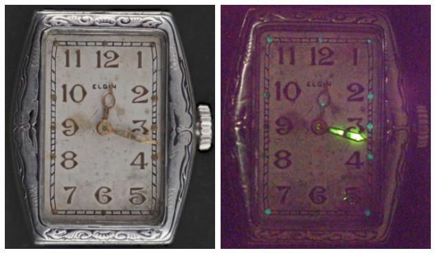 Một chiếc đồng hồ sơn bằng radium vào năm 1930. Đến tận giờ phút này, kim giờ vẫn phát sáng.