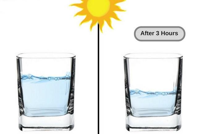 Nước trong cốc thủy tinh bốc hơi.