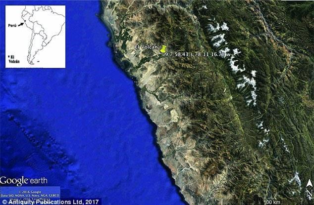 Vị trí kim tự tháp El Volcan trên bản đồ
