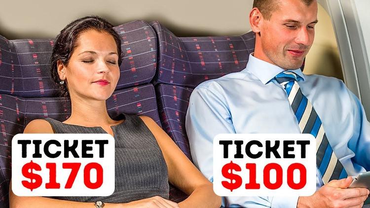 Dù ngồi cùng hàng ghế, một người mua vé giá 170 USD trong khi người còn lại chỉ phải bỏ ra 100 USD