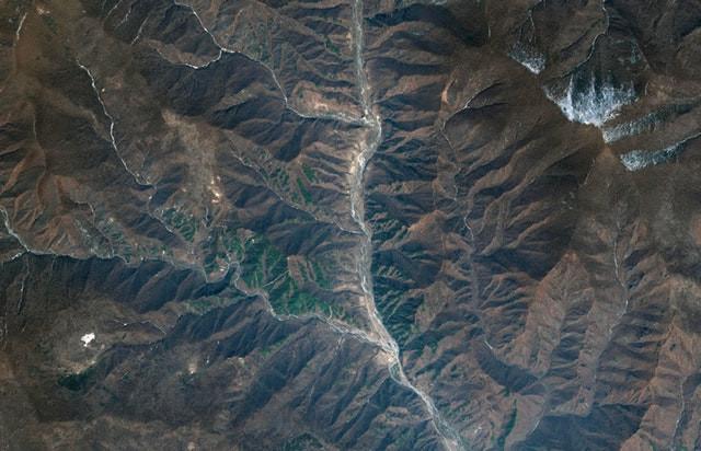 Bãi thử hạt nhân Punggye-ri trong ảnh chụp từ vệ tinh.