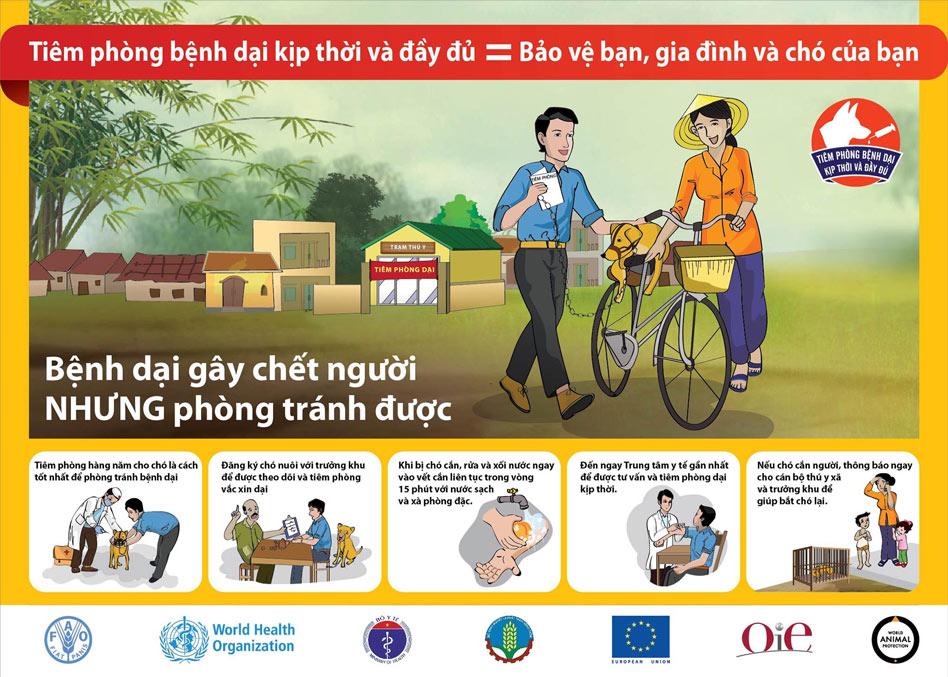 Poster tuyên truyền về bệnh dại
