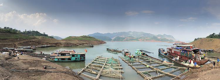 Chợ cá nằm dưới chân cầu Pá Uôn bắc qua sông Đà thuộc địa phận huyện Quỳnh Nhai (Sơn La) nhộn nhịp cả ngày lẫn đêm.