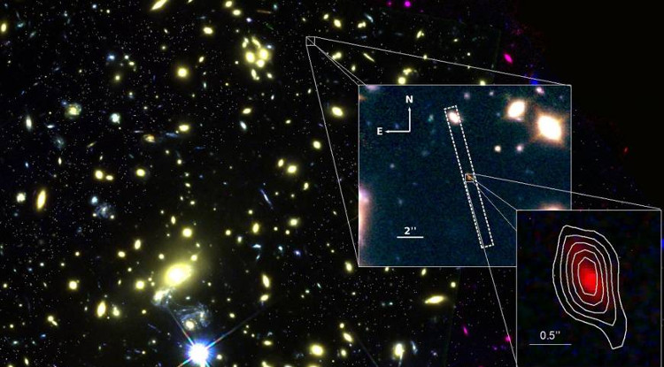 Hình ảnh phóng to của thiên hà MACS1149-JD1 được chụp bởi hai kính thiên văn VLT và Hubble