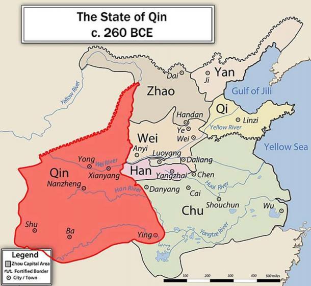 Vị trí địa lý của nước Tần ở thời Chiến quốc.