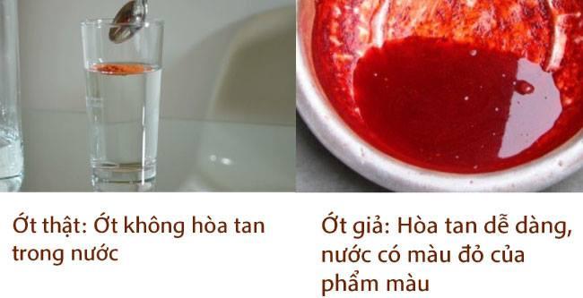 Nhận biết ớt bột thật bằng nước