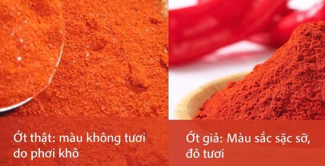 Màu sắc của ớt bột thật