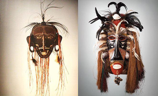 Mặt nạ Sesere (bên trái) đại diện cho một trong những huyền thoại của đảo bedhu.