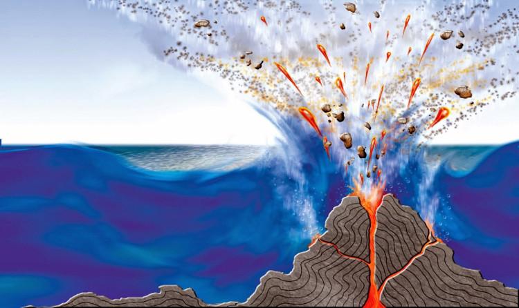 Dung nham tích tụ đến miệng núi lửa và cuối cùng là phun trào trong nước.