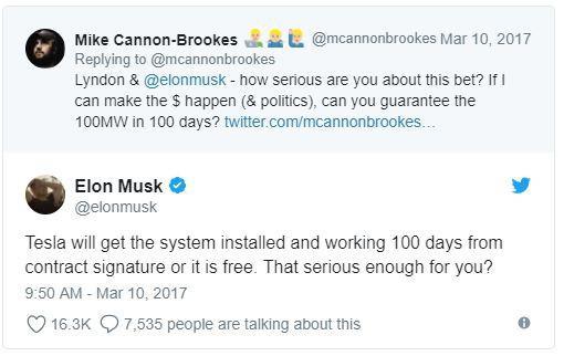 Elon Musk xác nhận Tesla sẽ xây dựng hệ thống pin điện lớn nhất thế giới chỉ trong vòng 100 ngày.