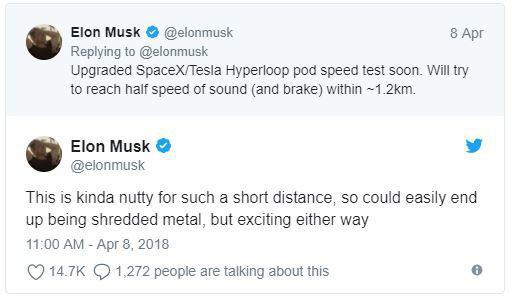Elon Musk hứa hẹn sẽ thử nghiệm Hyperloop với tốc độ bằng một nửa vận tốc âm thanh