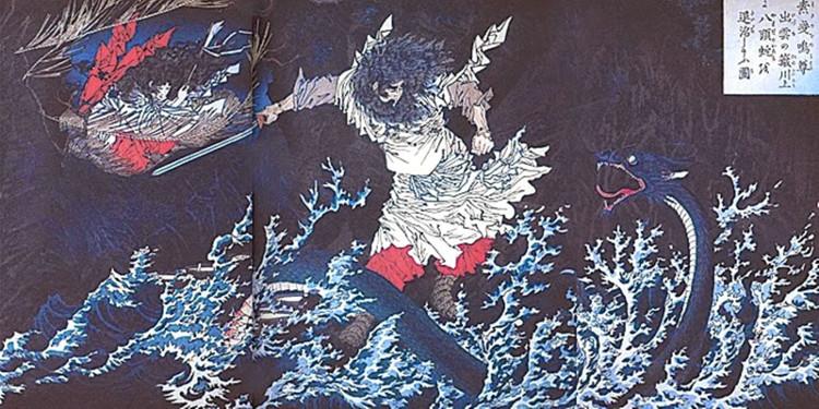 Thần Susanoo giết con rắn Yamata no Orochi.