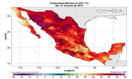 Bản đồ nhiệt hôm 1/6 cho thấy cả nước Mexico chịu ảnh hưởng của nắng nóng.