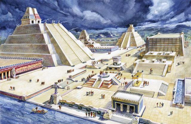 Tenochtitlan, thủ đô của đế chế Aztec, một trong những thành phố cổ bí ẩn trên thế giới