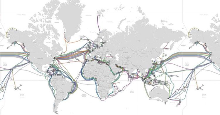 Đây là bản đồ của hơn 300 tuyến cáp biển trên khắp thế giới, với độ dài tổng cộng gần 900.000km.