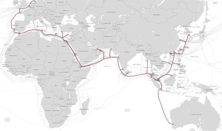 Trong ảnh là tuyến cáp dài nhất thế giới có tên SeaMeWe-3