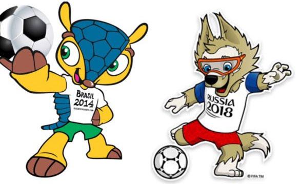Fuleco (ảnh trái) và Zabivaka - hai linh vật của hai mùa World Cup gần đây.