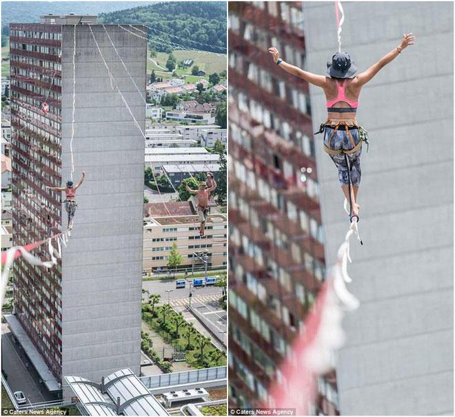 Khoảng cách giữa hai tòa tháp tại Zurich là 140 mét.