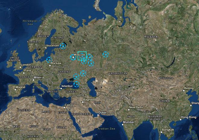 Hình ảnh vị trí địa lý của 12 sân vận động trong kỳ World cup 2018 được chụp từ vệ tinh của DigitalGlobe.