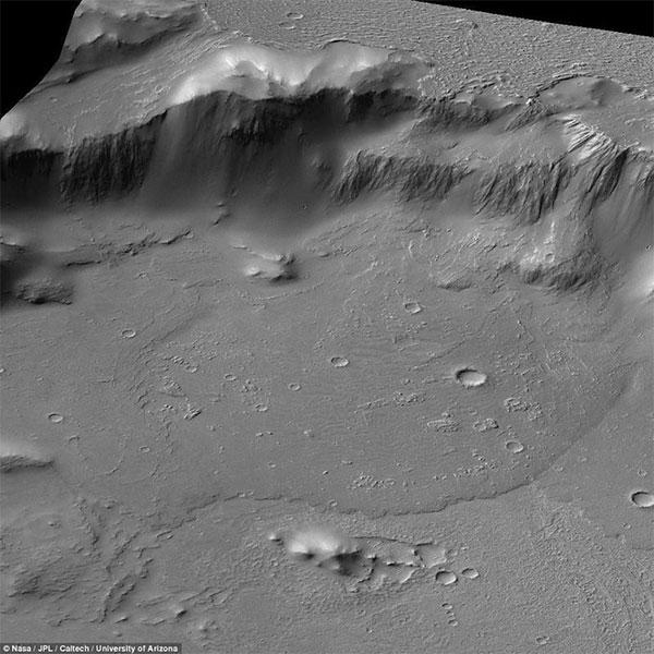 Bức ảnh cho thấy một dòng dung nham khổng lồ bị khô lại trên sao Hỏa
