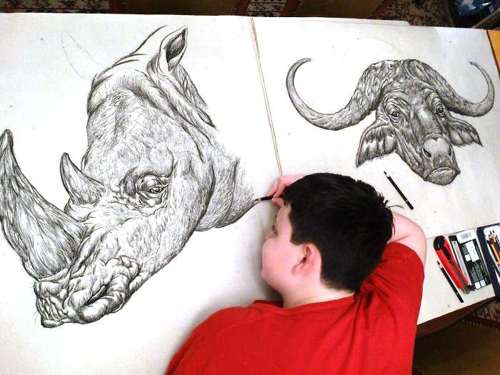 Dušan Krtolica, họa sĩ trẻ người Serbia, bắt đầu vẽ từ lúc 2 tuổi