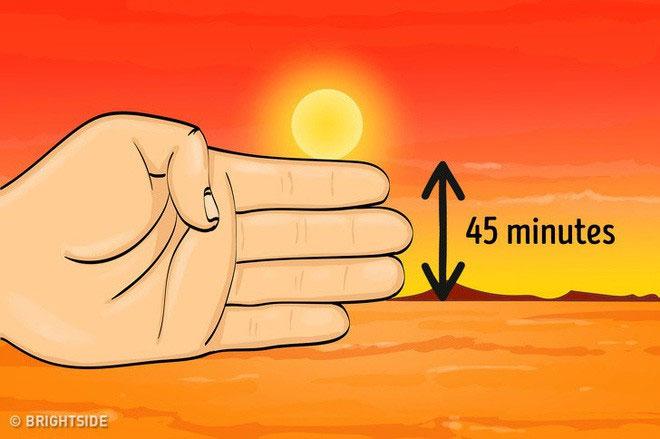 Chụm 4 ngón tay đặt theo phương nằm ngang, giữ bàn tay sao cho Mặt trời ở ngay phía trên ngón trỏ.