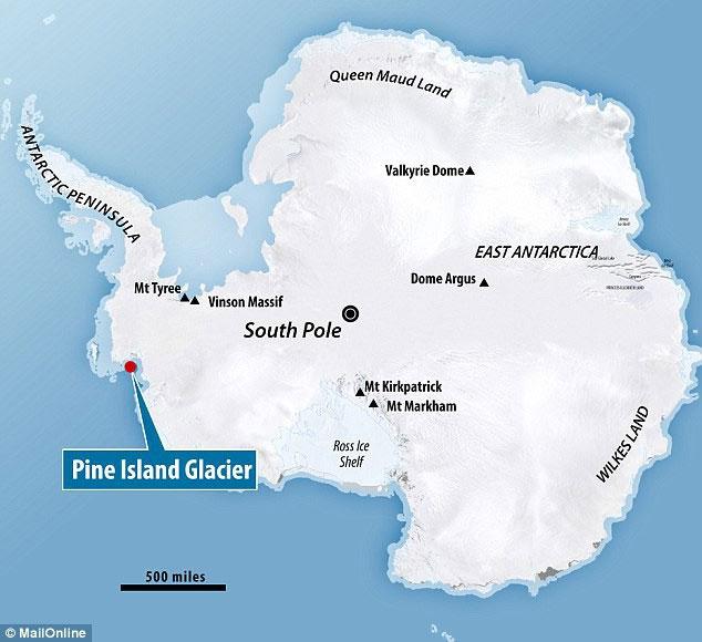 Vị trí của lớp băng Pine Island ở phía tây Nam Cực