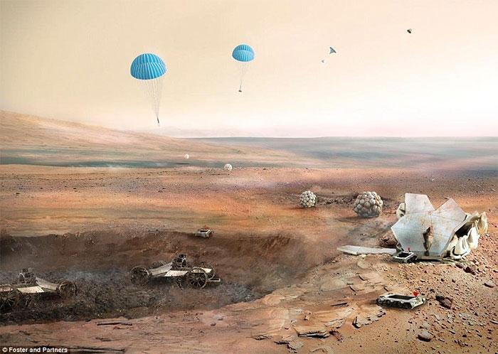 Các ngôi nhà trên sao Hỏa sẽ trải qua 3 giai đoạn xây dựng