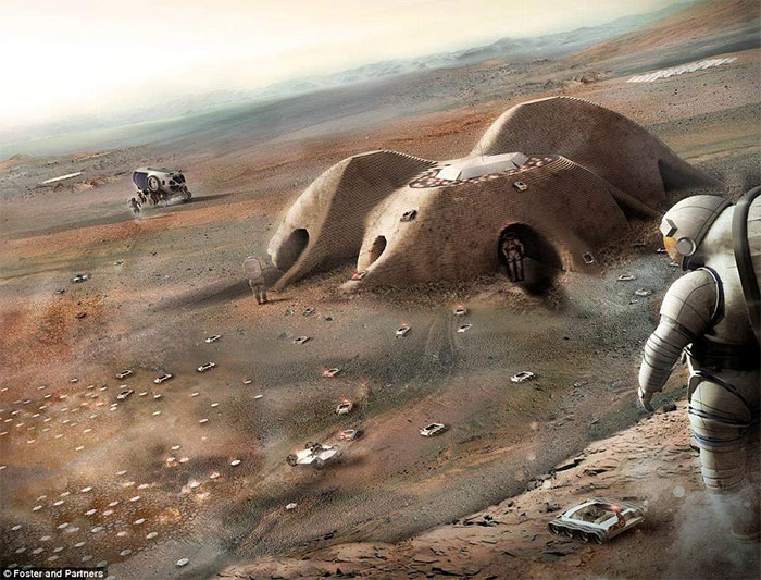 Cuộc sống trên sao Hỏa và mặt trăng được tiết lộ trong một loạt các hình ảnh đáng kinh ngạc.