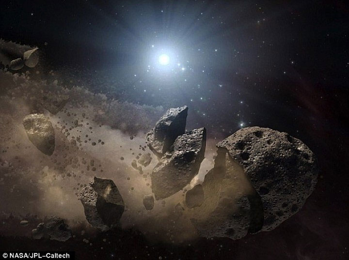 Hình họa về một thiên thạch bị tan vỡ.