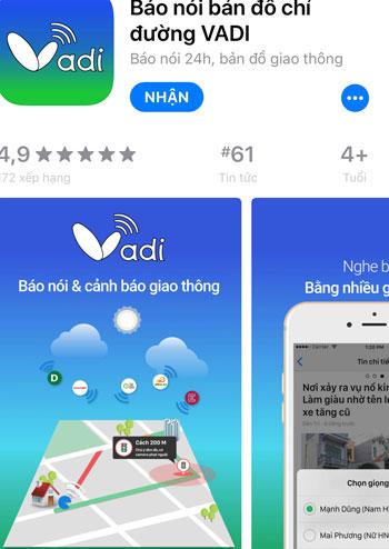Ứng dụng Vadi trên hệ điều hành iOS.