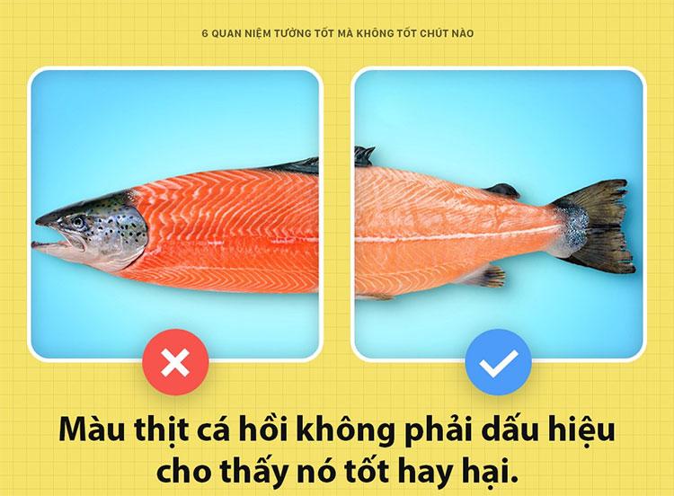 Thịt cá hồi càng đỏ càng tốt?