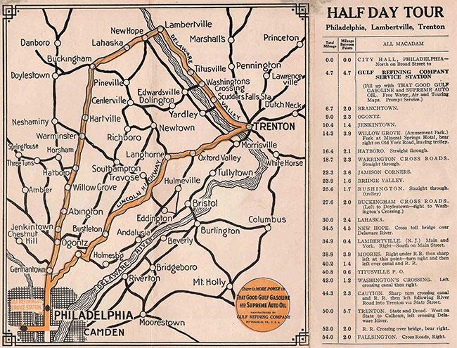 Bản đồ lộ trình đầu tiên tại Mỹ với điểm mốc là trạm xăng của Gulf nơi nó được bán.