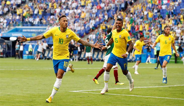 Neymar và đồng đội Brazil ở World Cup 2018.