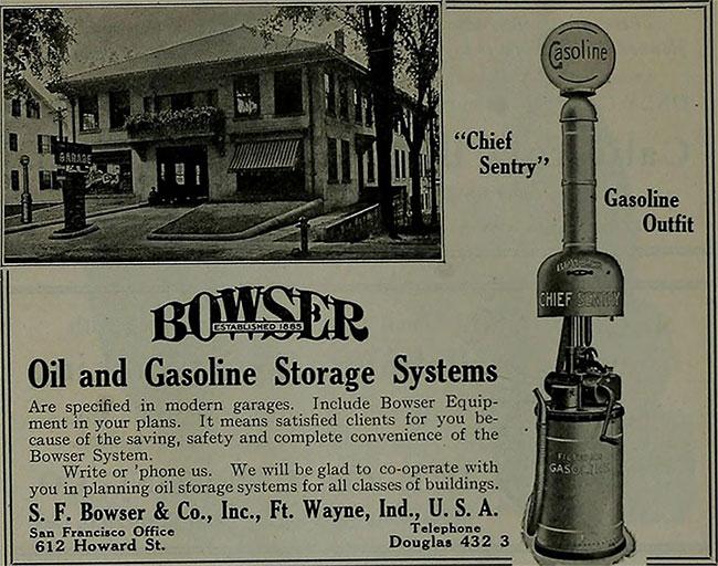 Thiết kế trụ bơm có thể tự đong và trữ xăng của S. F. Bowser.