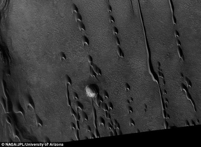 Hàng trăm đụn cát ma quái hình lưỡi liềm lỗ chỗ trên bề mặt sao Hỏa