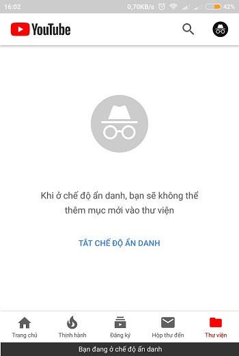 """YouTube sẽ hiển thị lời nhắc """"Bạn đã chuyển sang chế độ ẩn danh"""""""